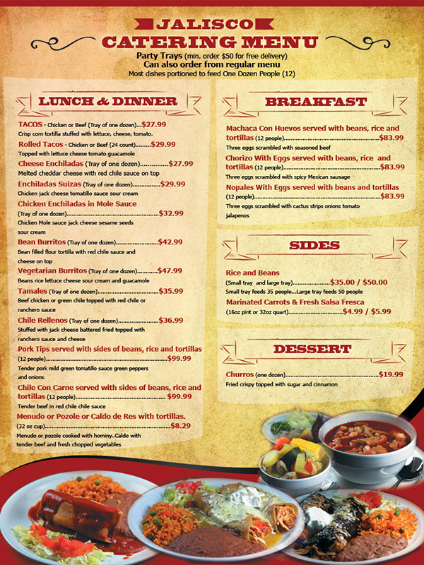 Jalisco Cafe Catering Menu